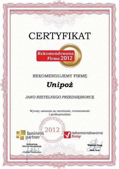 Certyfikat Rekomendowana firma-2012